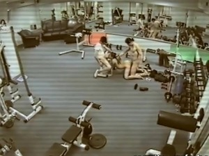 Three some pounding inside A Gym, Watching Themselves inside Bunch Of A...