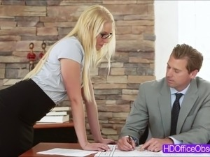 Sexy Secretary Vanessa Cage gets fucked at the desk of