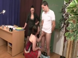 A teacher instructs her students on how to fuck while watching them free