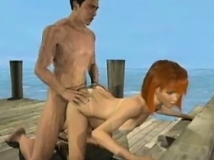 Animated redhead gets mouth fucked