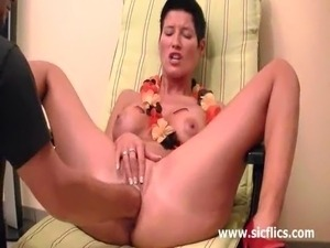 Horny brunette milf enjoys an intense pussy fisting orgasms then tries taking...