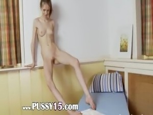 Drunk russian super skinny girl strip