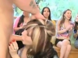 young brunette loves sucking on the strippers cock