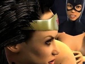 3D Wonder Woman gets licked and toyed by Catwoman