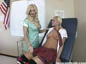Busty nurse and innocent student get nasty in office