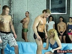 Bisexual group cock sucking