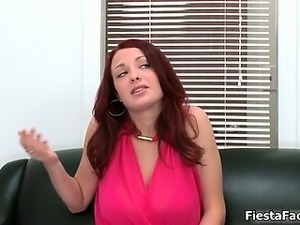 Sexy redhead babe gets horny stripping part4