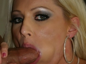 lovely blonde has cum pored on her adorable face