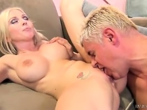 Cute Christie takes three couch sousing tasty lady squirts