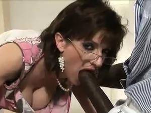 Slutty british dame sucks black cock