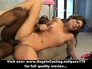 Naughty brunette riding cock and fucking hard with sexy black guy