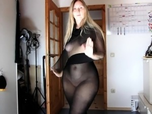 Sarah Huge Creamy Butt with see through dress