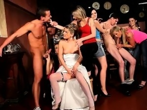 18yo bride Sandra fucks a lucky CFNM stripper at her CFNM