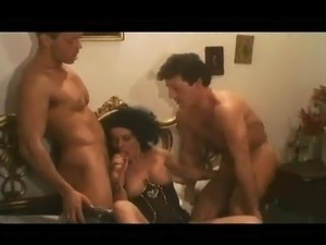 Penis desirous dark haired doll plays couple giant penises inside Sleaze...