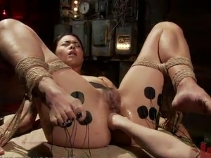 Black haired honey has Anal fist fucking By the Dominant Blonde lesbo girl