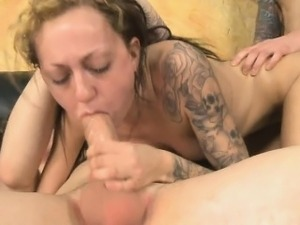 Brunete Amateur With Blonde Streak Roughed Up In Threesome