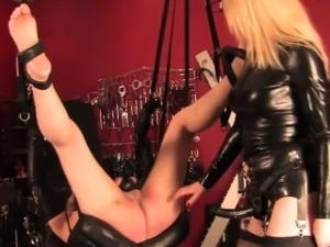 Mistress punishing pathetic suspended sub
