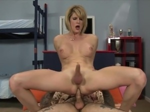 Charming babe eat friends cock