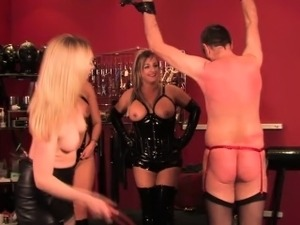 Rough dommes whipping bound sissy