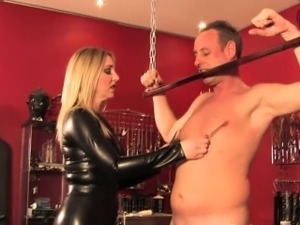 English domme clamping and humiliating sub