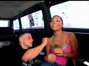 Amateur cutie flashing big tits and pussy in bus