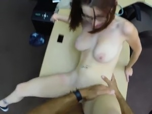 Chick in glasses pounded at the pawnshop for a diamond ring