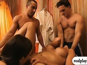 Gorgeous babes and horny men having fun in Foursome mansion