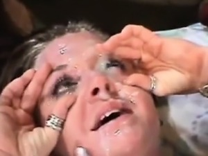 Perverted mature blonde needs cum in her eyes