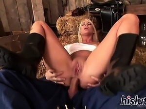 Sexy blonde rides on a massive dick