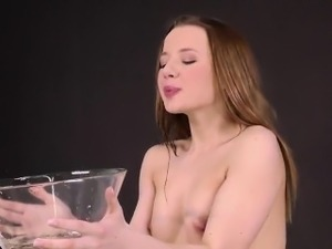 Breathtaking sweetie is pissing and finger fucking shaved cr
