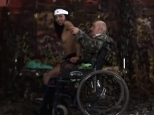 Beautiful teen nurse mounts amputee grandpa in wheelchair