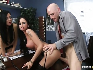 Johnny Sins gets his always hard meat pole sucked by Audrey Bitoni with...