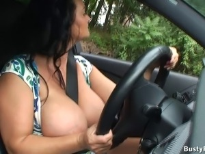 Busty Reny public flashing video