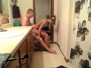 Tasty blond sweetheart banged in the toilet