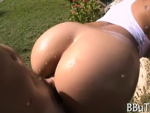 Nasty slut with giant fat butt is having nice sex with man