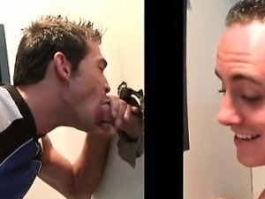 Sexy stud fits his cock in gay ass on gloryhole