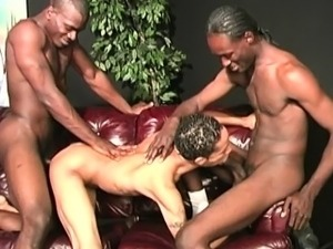 Twink latino guy gets gangbanged by hung black men