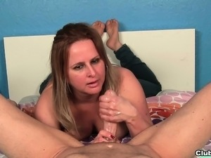 Alluring Camelia strokes a long prick until it explodes with pleasure