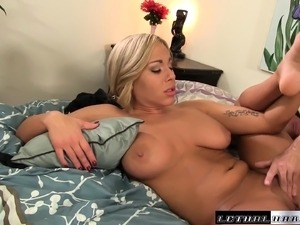Stacked blonde Olivia Austin has a fiery peach yearning for hard meat
