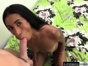 Dusky Latina sex bomb sucks and rides a stiff prick wildly in bed