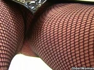 UK milfs Lulu Lush and Alisha Rydes love masturbating in fishnet tights...