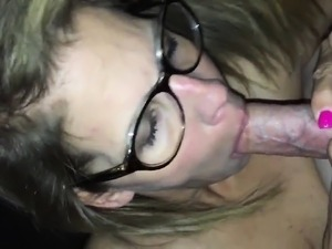 Kinky mature blonde with glasses shows off her cocksucking abilities