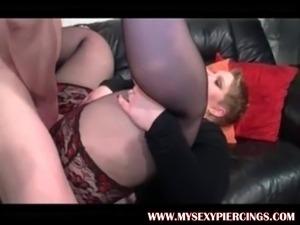 My Sexy Piercings BBW MILF in stockings and pierced nips