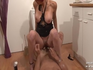 Busty french babe Kenza Suck gets stuffed with cum to mouth