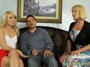Taboo teen doggystyled while milf rubs clit