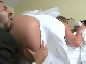 Her groom is absolutely drunk! However sexy bride Alanah Rae does no want to...