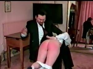 Schoolgirls spanked together