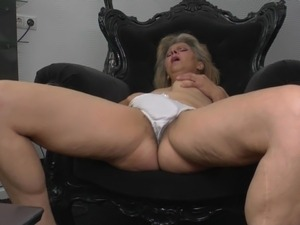 White panties come off and reveal her hairy milf pussy