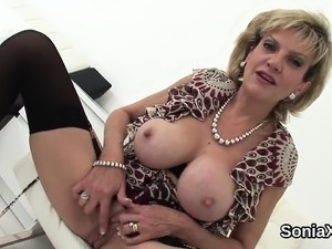 Unfaithful english mature lady sonia pops out her enormous b
