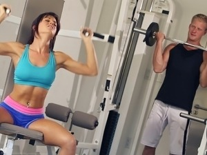 A private gym class becomes a hardcore fuck session